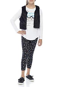 Girls 7-16 Fuzzy Vest Penguin Legging Set
