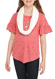 Girls 7-16 Short Sleeve Frenchie Tee With Scarf