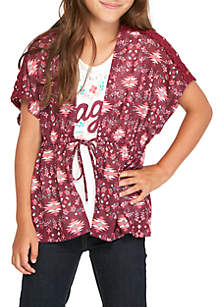 Belle du Jour Girls 7-16 Floral Tie Front Vest Screen Tee