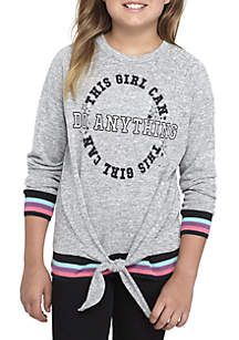 Girls 7-16 Tie Front Tipped Long Sleeve Top