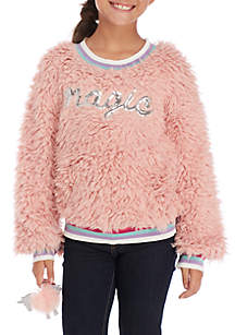 Pink Magic Fuzzy Tipping Pullover