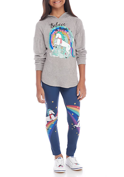 Belle du Jour Girls 7-16 2-Piece Unicorn Rainbow