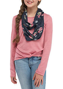 Girls 7-16 Long Sleeve Rose Waffle Hacci Scarf Top