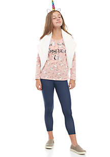 Girls 7-16 3-Piece Fuzzy Vest Unicorn Set