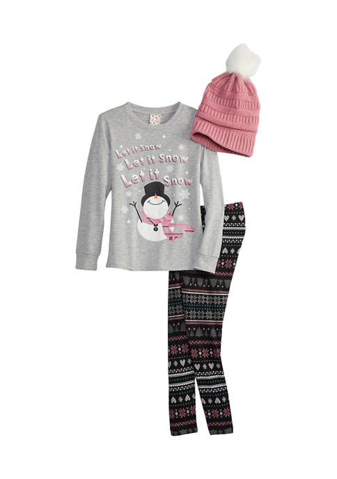 Girls 7-16 French Terry Top, Legging, and Crocheted Beanie Set