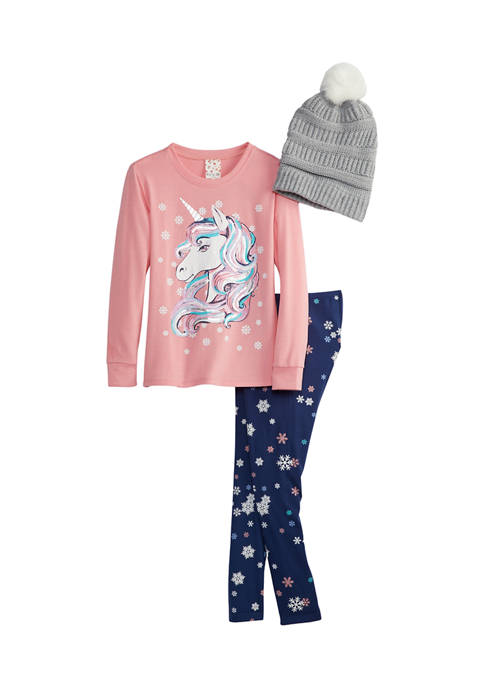 Girls 7-16 French Terry Top, Leggings, and Crochet Beanie Set