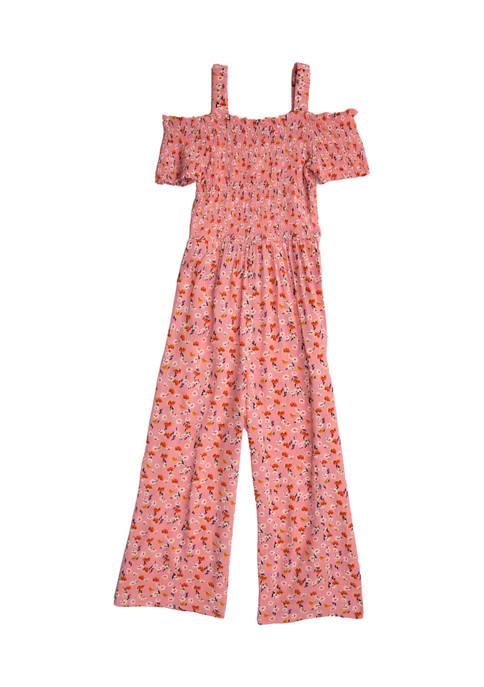 Belle du Jour Girls 7-16 Floral Smocked Jumpsuit