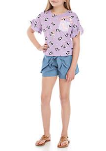 Belle du Jour Girls 7-16 Purple Panda Chambray Short Set