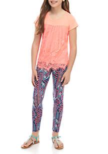 Belle du Jour Girls 7-16 Coral Lace Top Navy Print Leggings