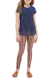 Belle du Jour Girls 7-16 Navy Lace Top Yellow Print Legging Set