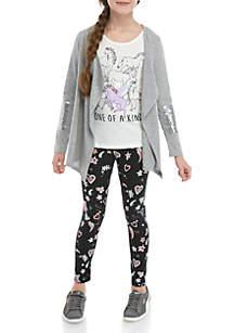 Belle du Jour Girls 7-16 3 Piece Sequin Cardigan Legging Set