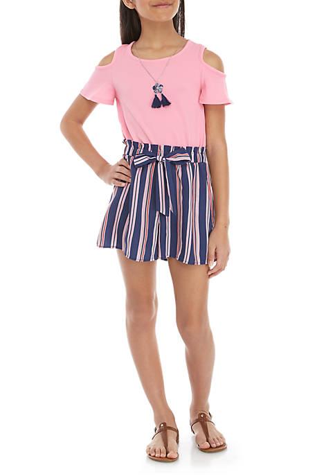 Self Esteem Girls 7-16 Pink Navy Knit to