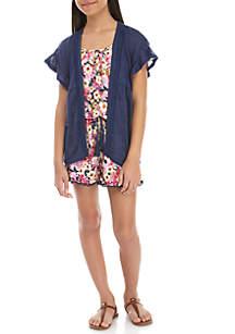 Belle du Jour Girls 7-16 Navy Kimono Floral Romper Set