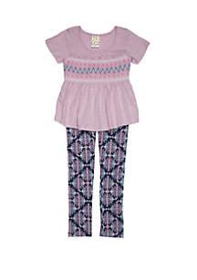 Belle du Jour Girls 4-6x Smocked Top Printed Legging Set
