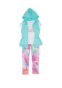Belle du Jour Girls 4-6x Vest Unicorn Tee Legging Set