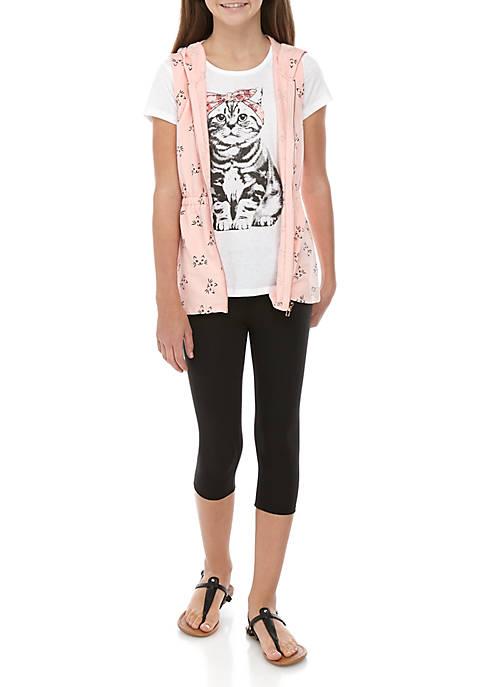 Belle du Jour Girls 4-6x Cat Vest Legging