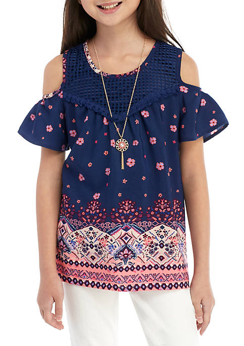 Belle du Jour Girls 7-16 Navy Border Print