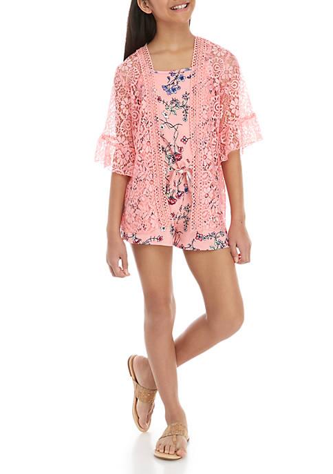 Belle du Jour Girls 7-16 Pink Kimono Floral