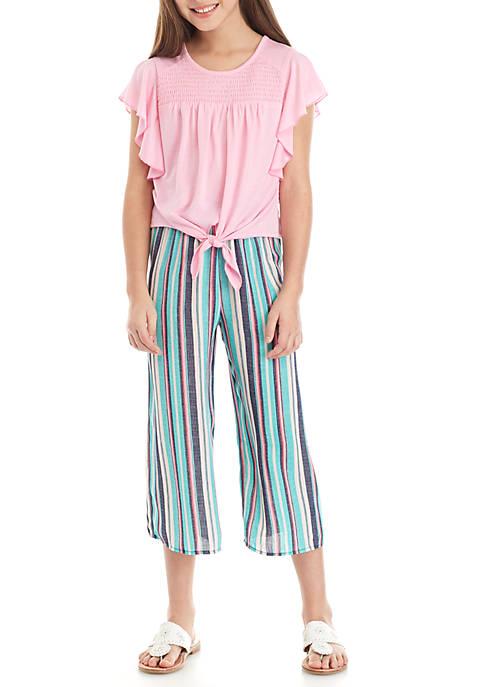 Belle du Jour Girls 7-16 Pink Tie Front