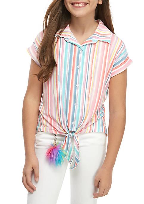 Belle du Jour Girls 7-16 Short Sleeve Stripe