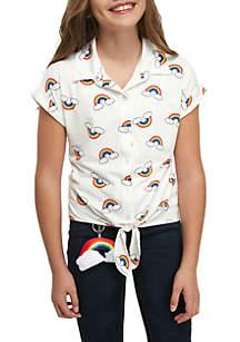 Belle du Jour Girls 7-16 Short Sleeve Rainbow Tie Front Camp Shirt