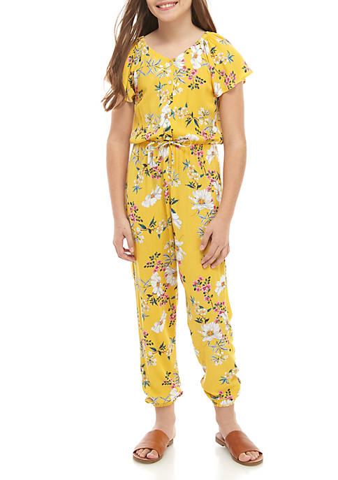 Belle du Jour Girls 7-16 Yellow Floral Woven