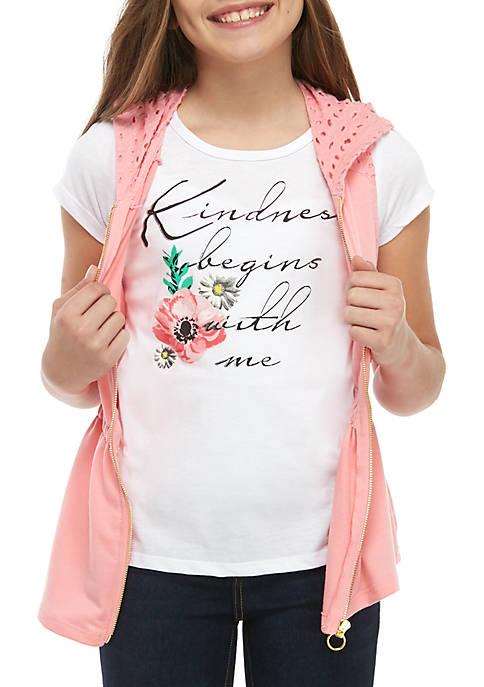 Belle du Jour Girls 7-16 Pink Crochet Anorak