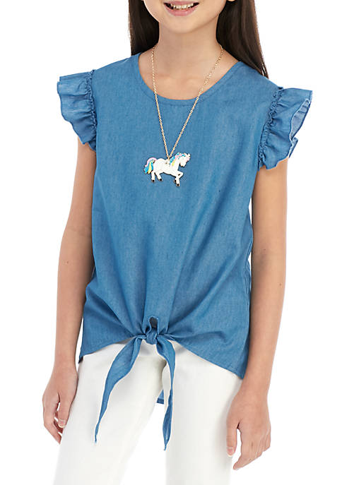 Girls 7-16 Solid Ruffle Sleeve Tie Front Chambray Top