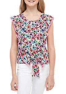 Belle du Jour Girls 7-16 Floral Tie Front Top