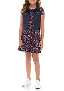 Self Esteem Girls 7-16 Short Sleeve Navy Dress Sequin Vest Set