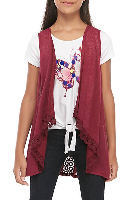 Belle du Jour Girls 7-16 Wine Vest and