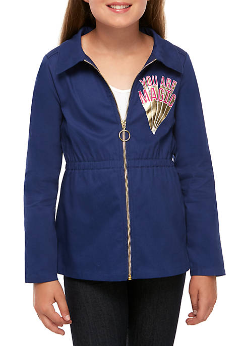 Girls 7-16 Long Sleeve Anorak Jacket with Sequins