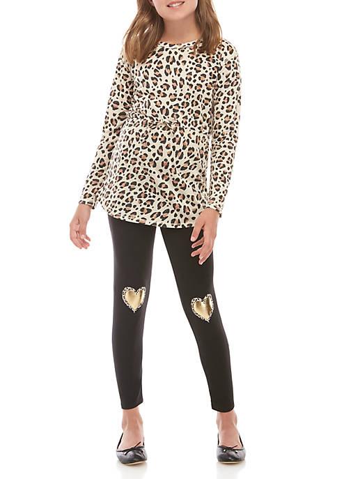 Belle du Jour Girls 7-16 Long Sleeve Cheetah