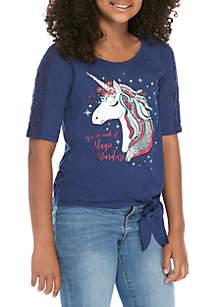 Self Esteem Girls 7-16 Navy Unicorn Tie Front Top