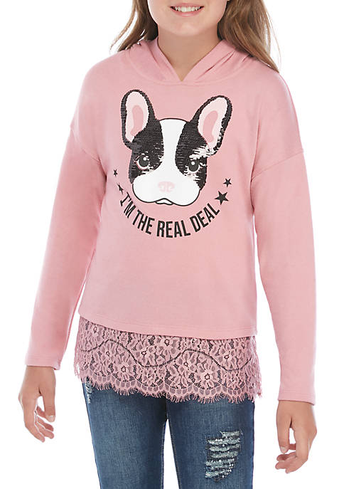 Girls 7-16 Long Sleeve Lace Hem Hoodie with Frenchie Graphic