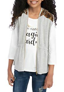 Self Esteem Girls 7-16 2 Piece Sequin Hood Vest and T-Shirt Set