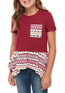 Self Esteem Girls 7-16 Knit to Woven Shark Bite Top