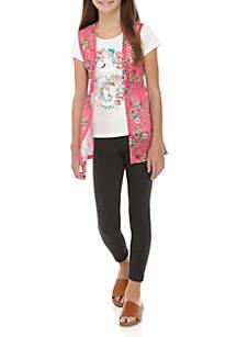 caa9472495ef47 ... Belle du Jour Girls 4-6x Horse Top Floral Vest Legging Set