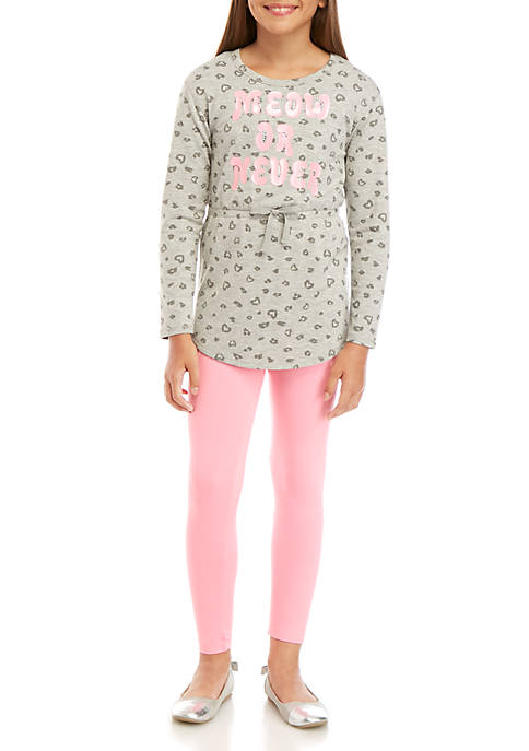 Girls 7-16 2 Piece Long Sleeve Meow or Never Top and Legging Set