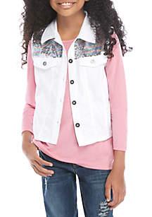 Belle du Jour Girls 7-16 White Sequin Vest and Pink Long Sleeve T Shirt Set