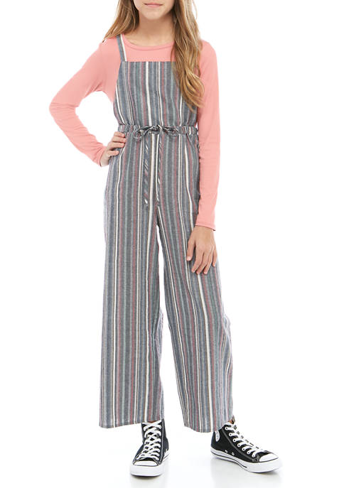 Belle du Jour Girls 7-16 Striped Woven Jumpsuit