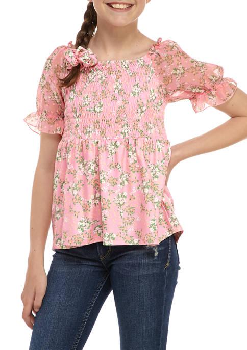 Belle du Jour Girls 7-16 Puff Sleeve Floral