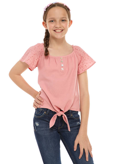 Belle du Jour Girls 7-16 2 Piece Eyelet