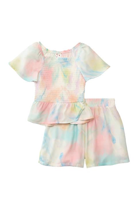 Belle du Jour Girls 7-16 Tie Dye Smocked