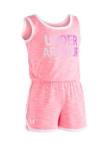 Under Armour® Girls 2-6x UA Court Side Wordmark Romper