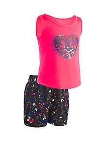 Under Armour® Girls 2-6x UA Splatter Heart Tank Set