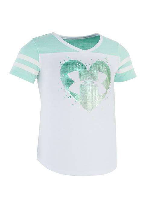 Under Armour® Girls 4-6x Stud Heart Short Sleeve