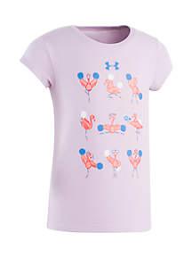 Under Armour® Girls 2-6x Flamingo Cheerleader Short Sleeve Tee