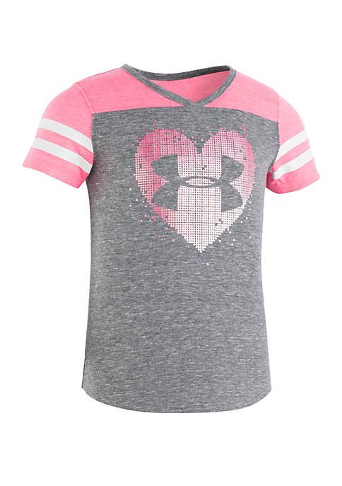 Under Armour® Girls 2-6x Stud Heart Short Sleeve