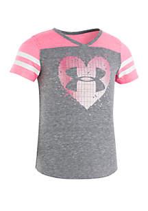 Under Armour® Girls 2-6x Stud Heart Short Sleeve Tee